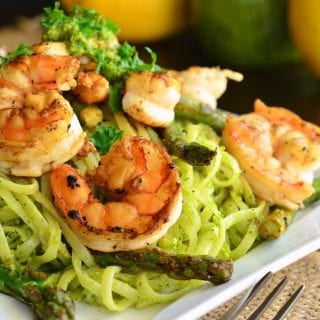 Lemon Pistachio Pesto Pasta with Shrimp and Asparagus