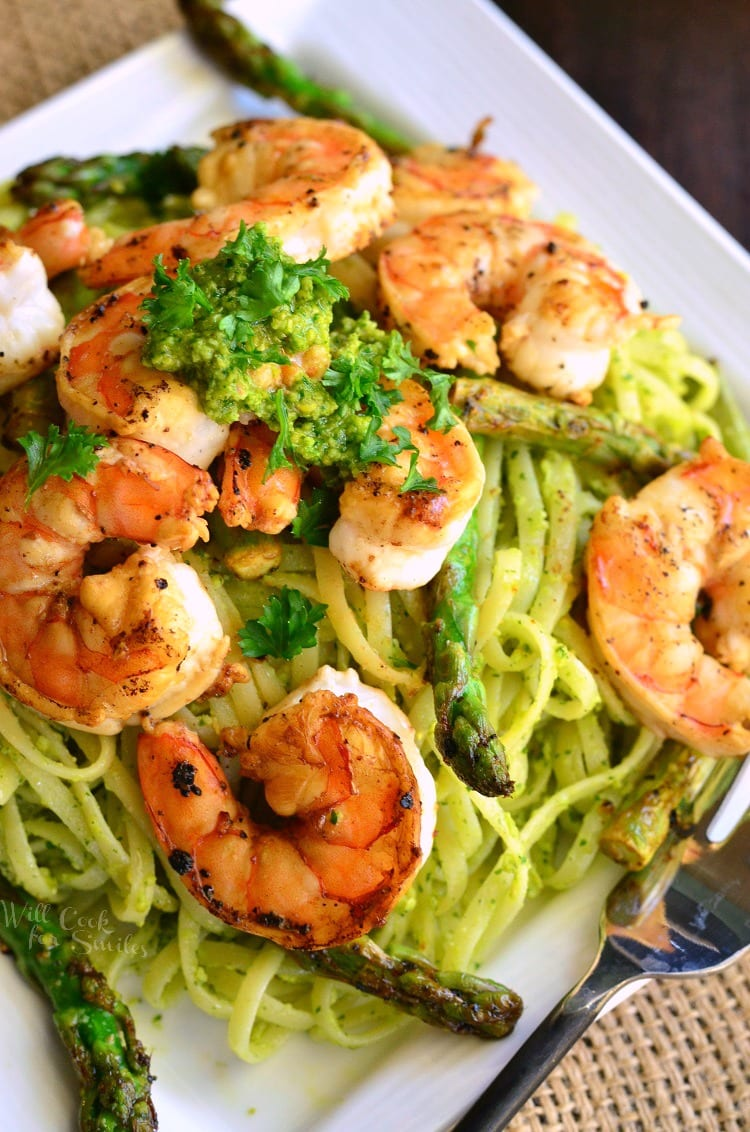Lemon Pistachio Pesto Pasta with Shrimp and Asparagus.