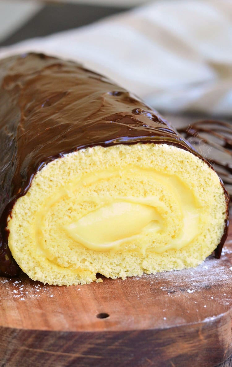Boston Cream Cake Roll. from willcookforsmiles.com