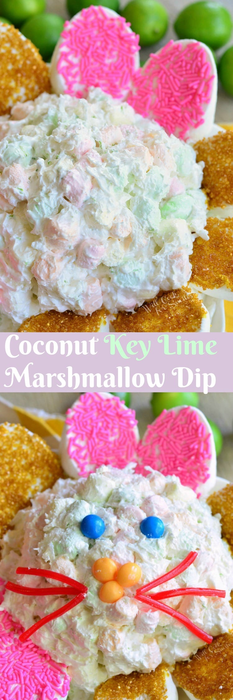 top photo Coconut Key Lime Marshmallow Dip bottom is dip made into bunny