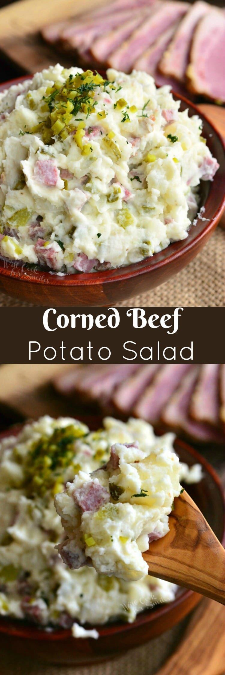 top photo is Corned Beef Potato Salad in a bowl bottom photo is potato salad on a wood spoon