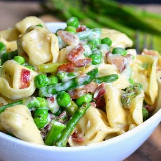 Creamy Tortellini with Peas Asparagus and Bacon