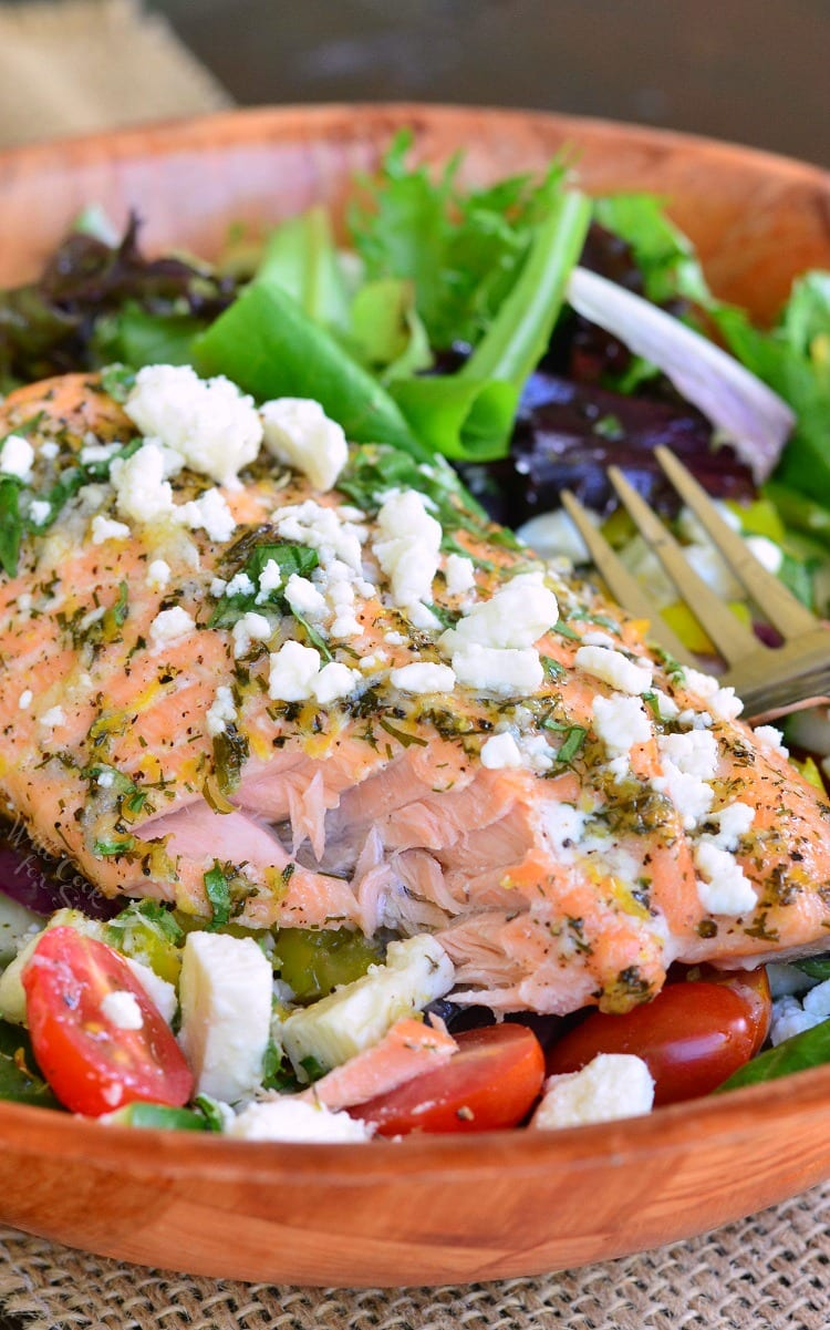 Greek Salmon Salad. from willcookforsmiles.com