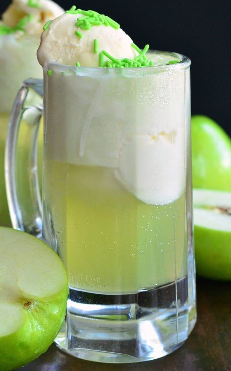 Green Apple Ice Cream Soda Float in a glass mug with green sprinkles on top