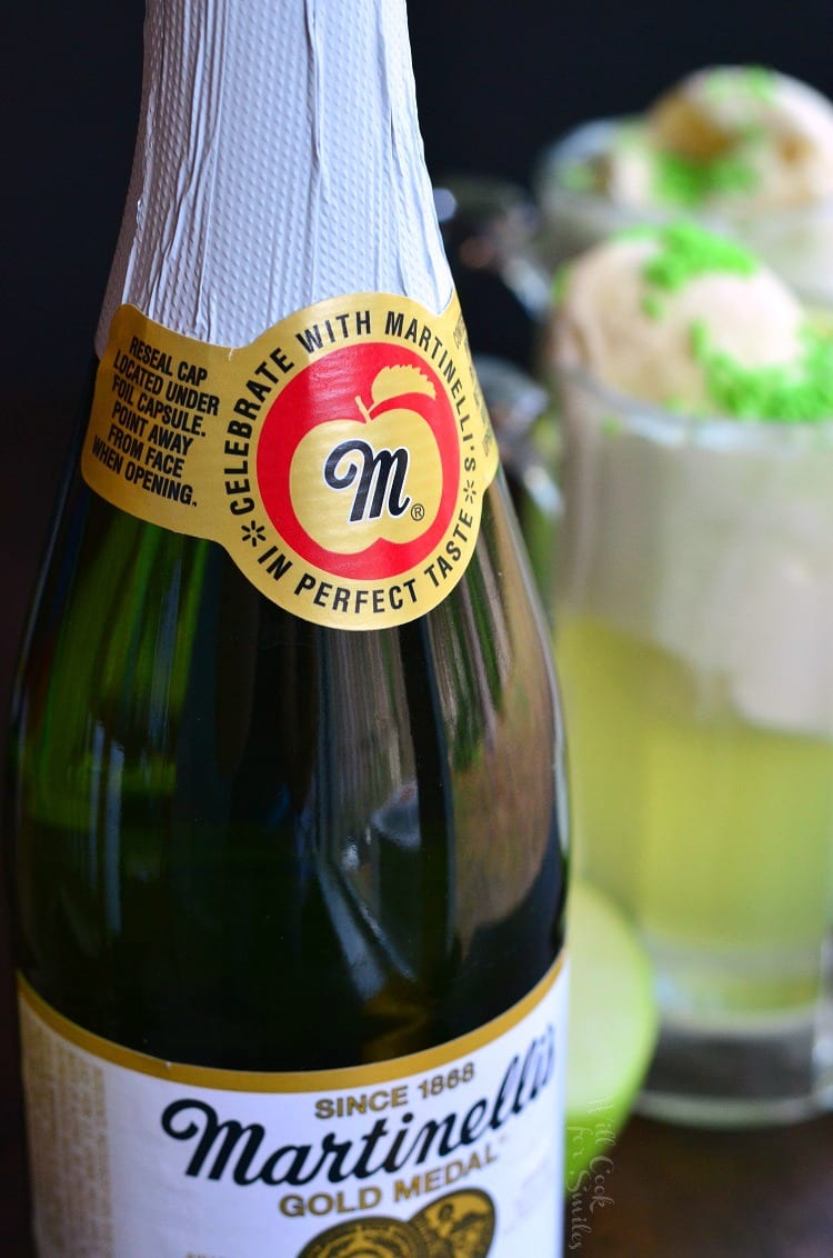 a bottle of Martinelli's Sparkling Apple Cider with a float in the background