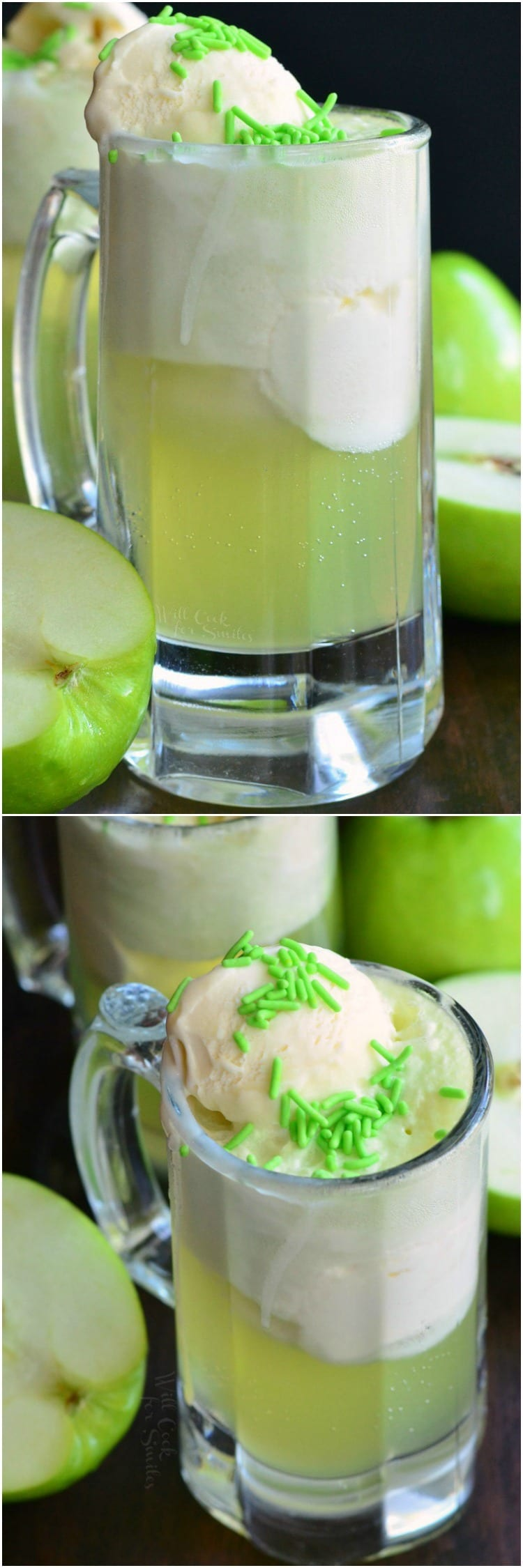 Green Apple Ice Cream Soda Float. These soda floats are made with only three ingredients and are a perfect combination of sour, sweet, and creamy flavors.