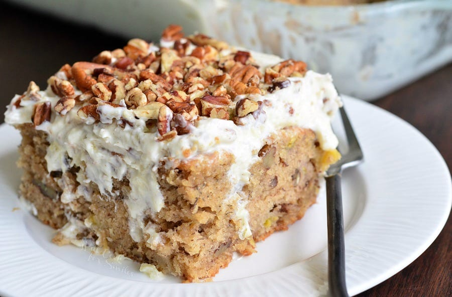 Hummingbird Cake Poke Cake. Beautiful and easy spring and summer dessert. | from willcookforsmiles.com