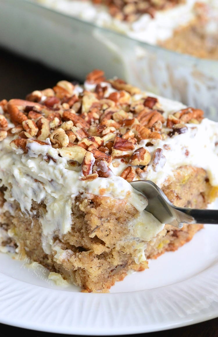 Hummingbird Cake made into a simple poke cake. Beautiful and easy spring and summer dessert. | from willcookforsmiles.com