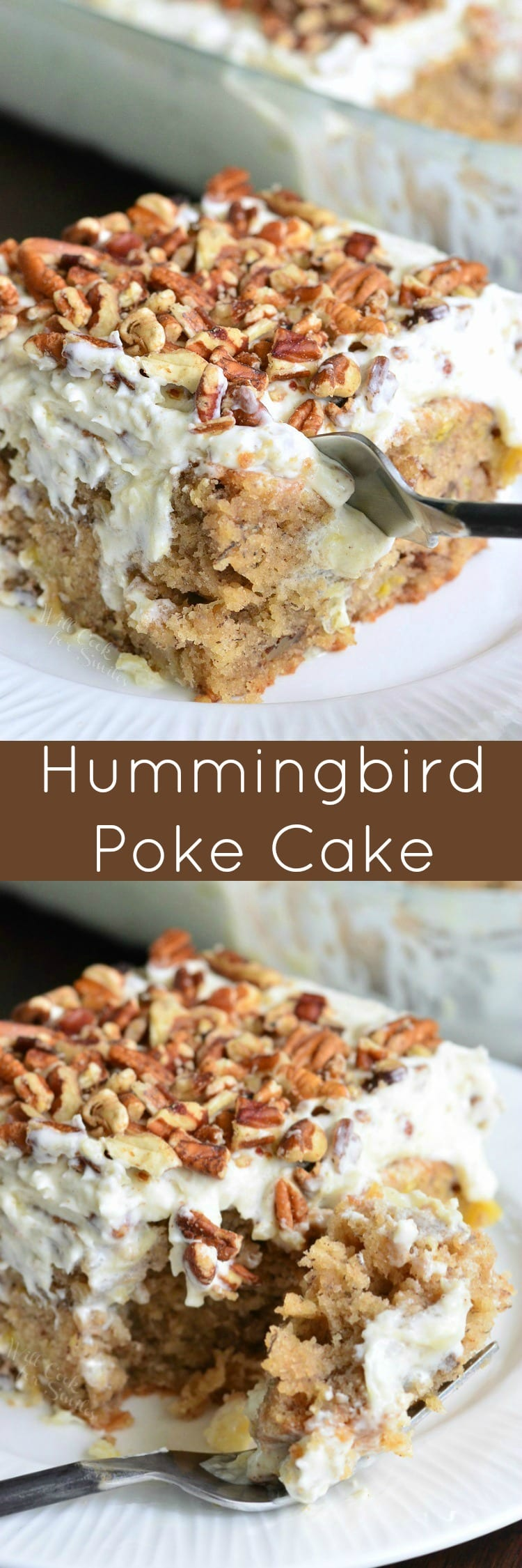 Hummingbird Poke Cake. This version of a Hummingbird cake is so easy and extra moist from a layer of sweet, creamy sauce. #hummingbirdcake #pokecake #bananacake #cake