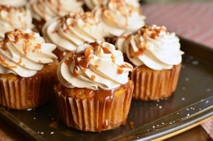 Salted Caramel Carrot Cake Cupcakes. from willcookforsmiles.com