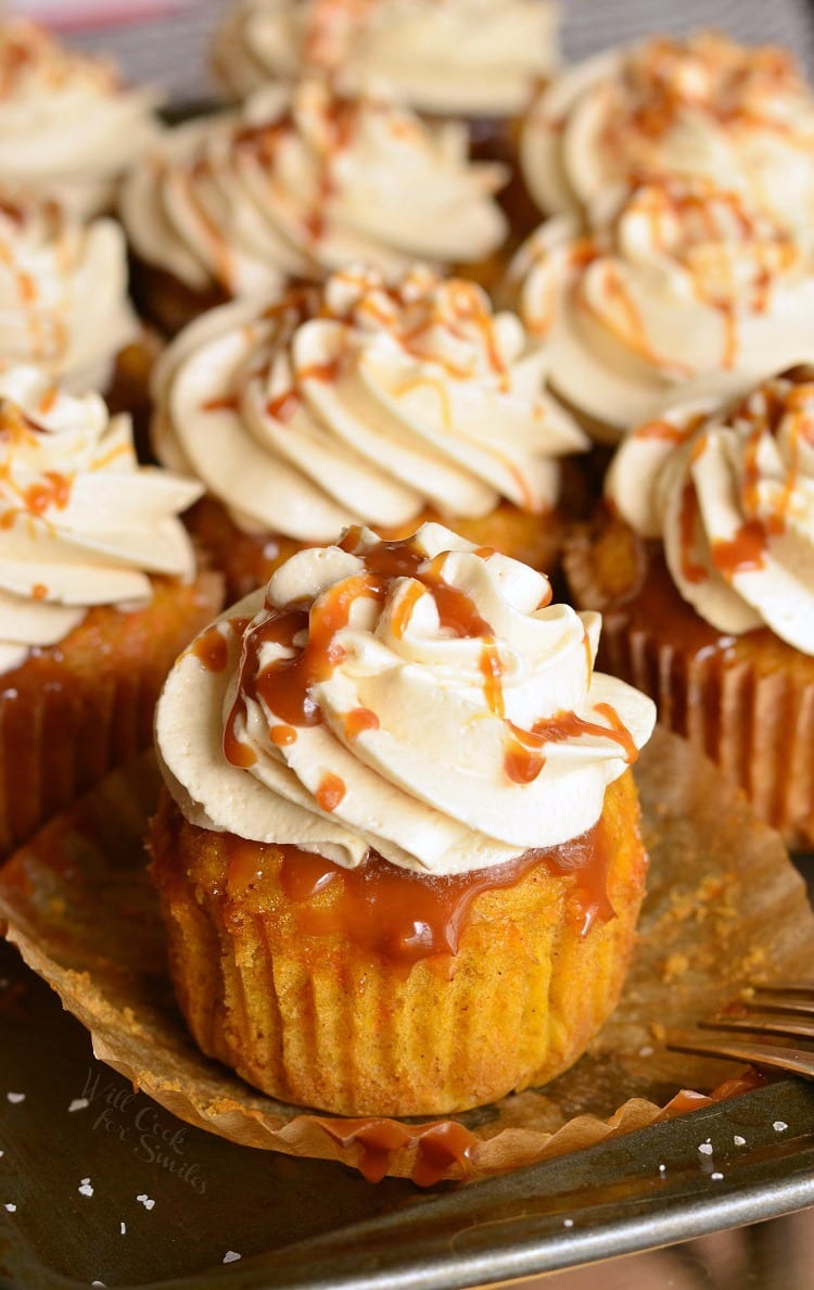 Salted Caramel Carrot Cake Cupcakes. from willcookforsmiles.com
