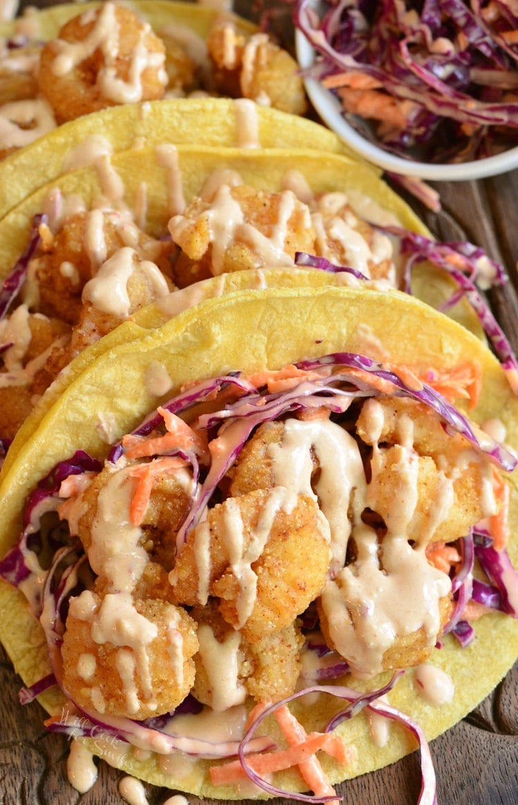 Chipotle Chili Crispy Shrimp Tacos. You will knock dinner right out of the park with these awesome, spicy shrimp tacos. from willcookforsmiles.com