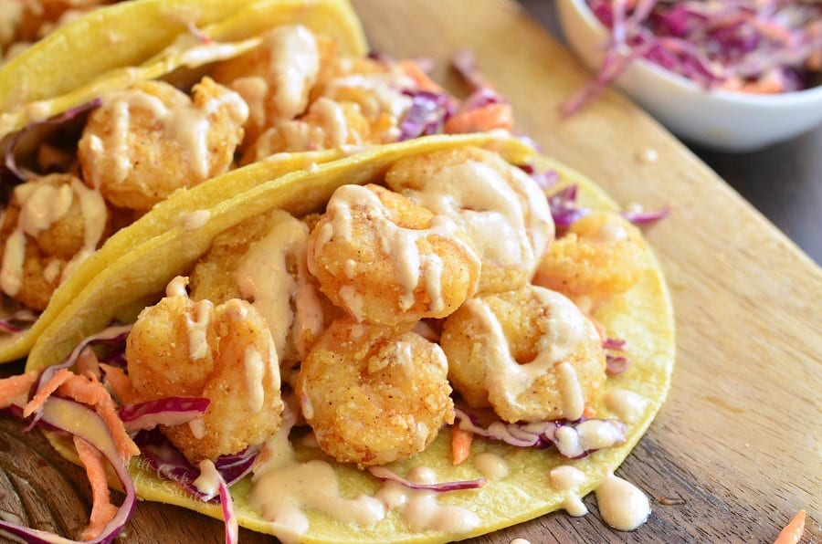 Chipotle Chili Crispy Shrimp Tacos. from willcookforsmiles.com