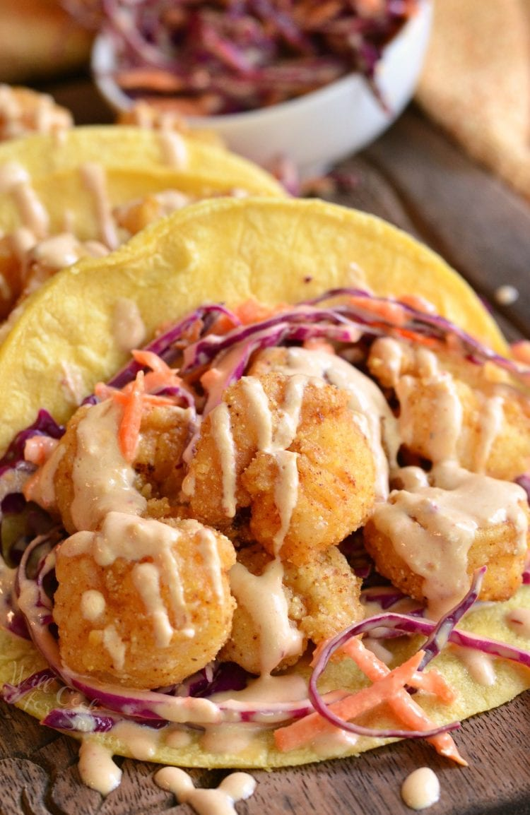 Chipotle Chili Crispy Shrimp Tacos. Delicious spicy tacos made with juicy, crispy shrimp, red cabbage slaw, and creamy chipotle chili sauce.