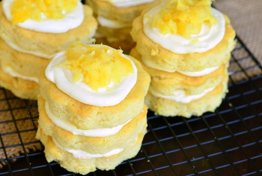 Mini Pineapple Cakes with Silky Cream Cheese Frosting. from willcookforsmiles.com
