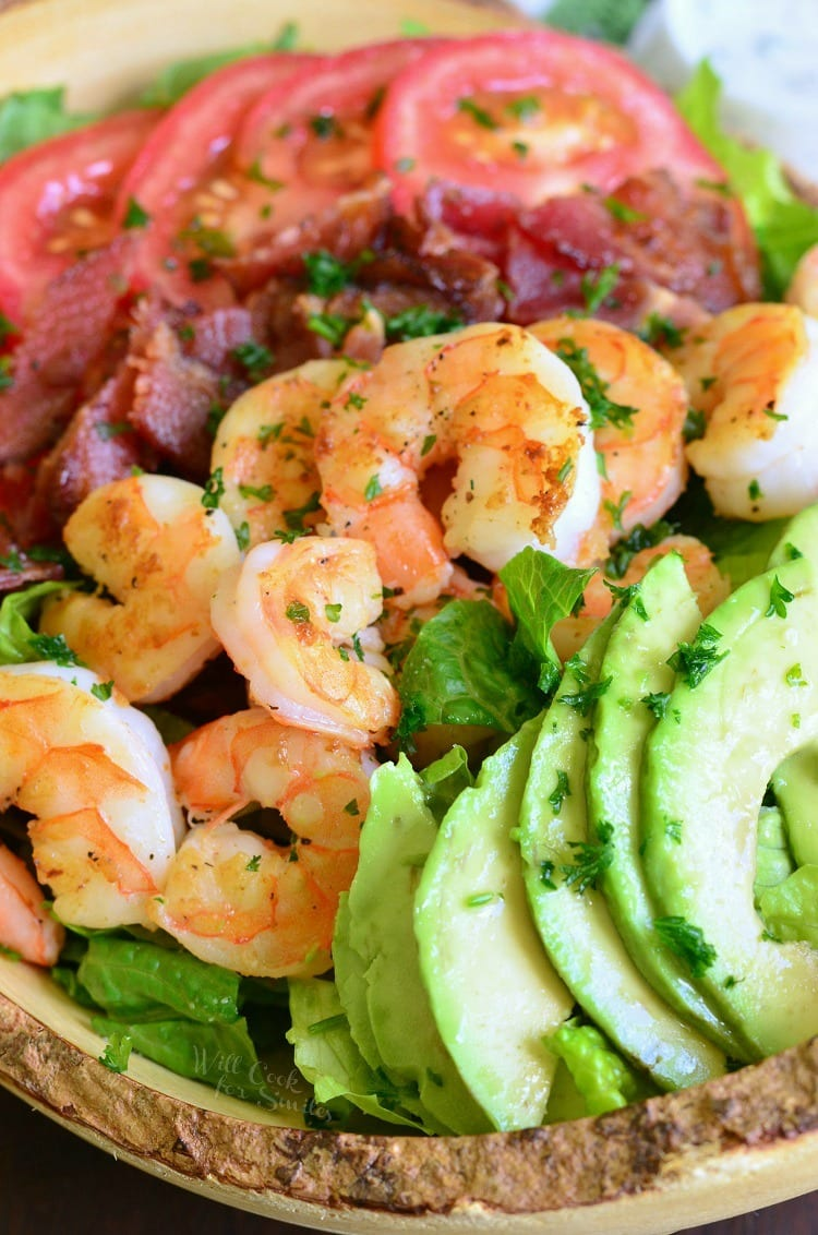 Shrimp BLTA Salad with Light Buttermilk Ranch. from willcookforsmiles.com