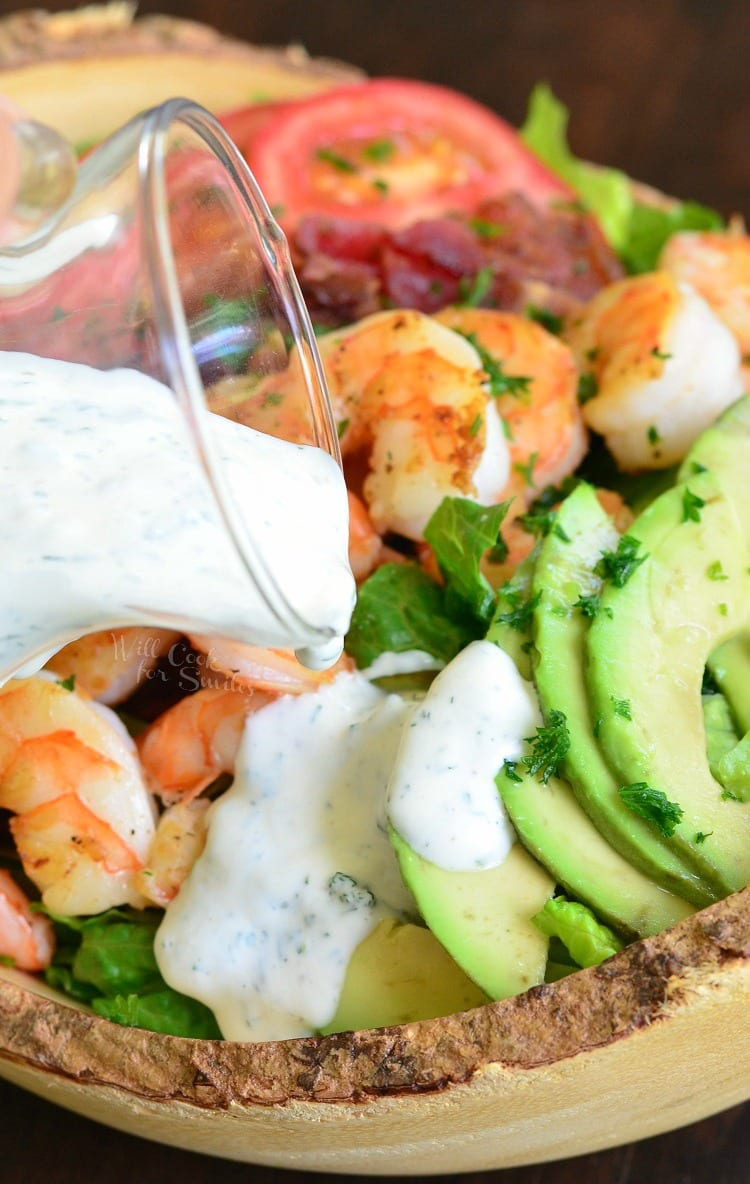 Shrimp BLTA Salad with Light Buttermilk Ranch. from willcookforsmiles.com