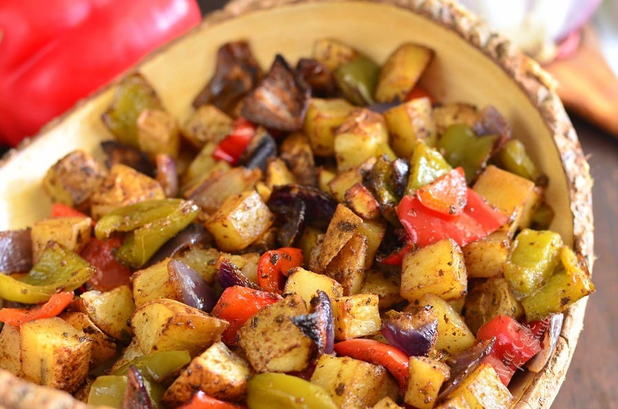Southwest Roasted Potatoes in a yellow bowl