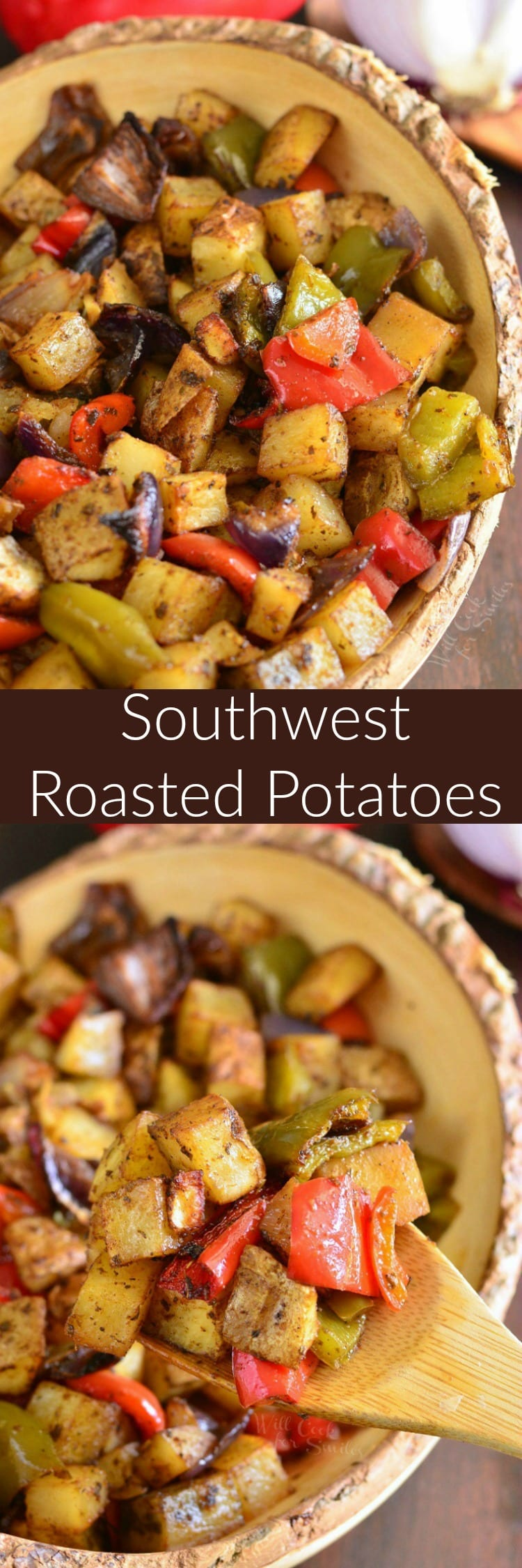 collage photo top photo is Southwest Roasted Potatoes in a yellow bowl bottom with a wooden spoon scooping some out