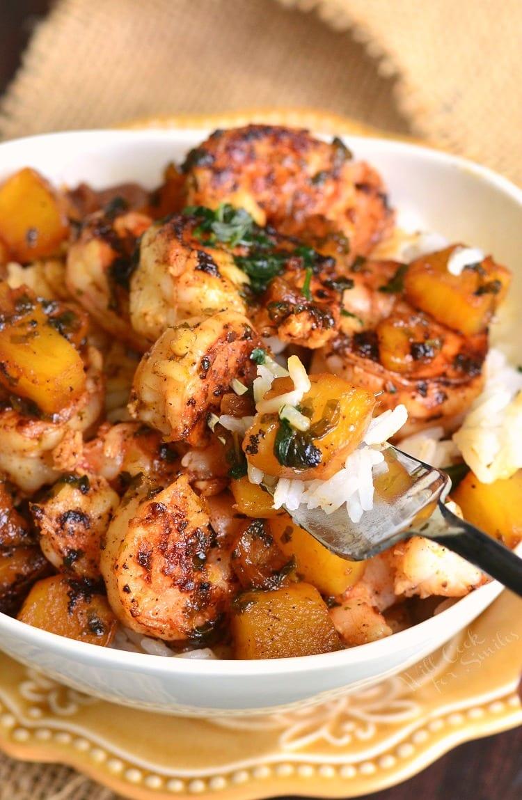 Tropical Shrimp Rice Bowl. from willcookforsmiles.com