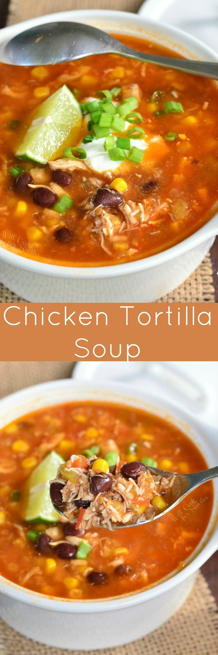Chicken Tortilla Soup. This homemade chicken soup is made from scratch, with tomato base, shredded chicken, veggies, and a spice kick. #soup #light #chicken #chickensoup