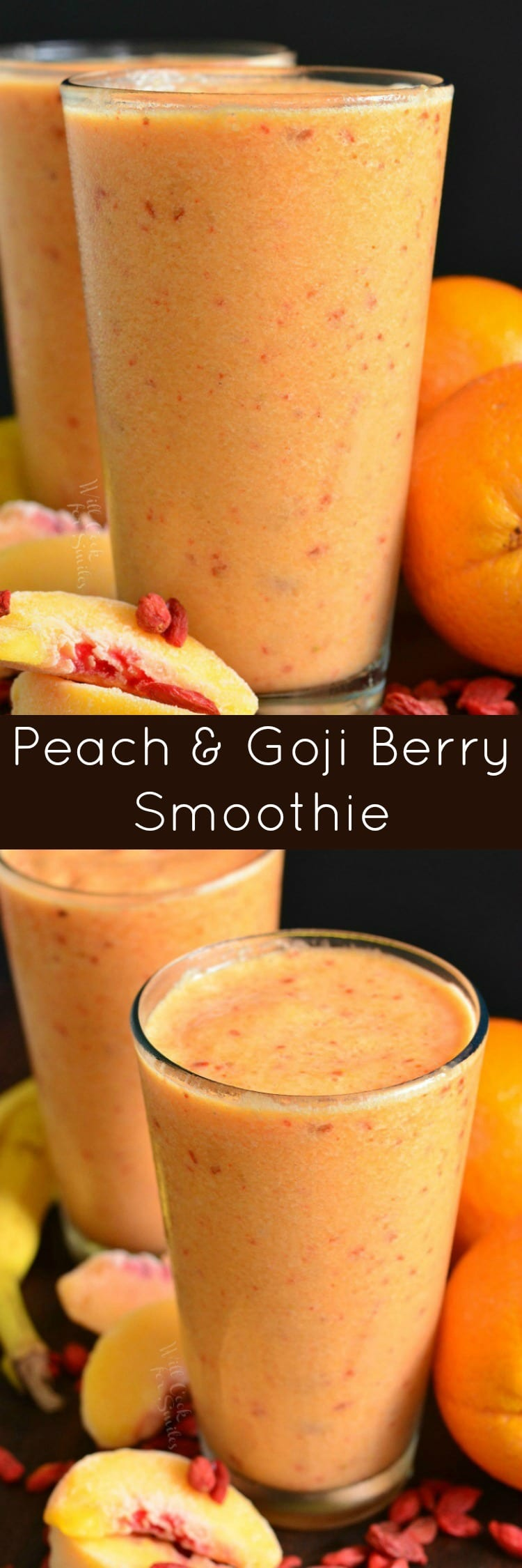 Creamy Peach and Goji Berry Smoothie. This smoothie is loaded with peaches, Goji berries, banana, Silk Almond Milk, and a splash of orange juice.