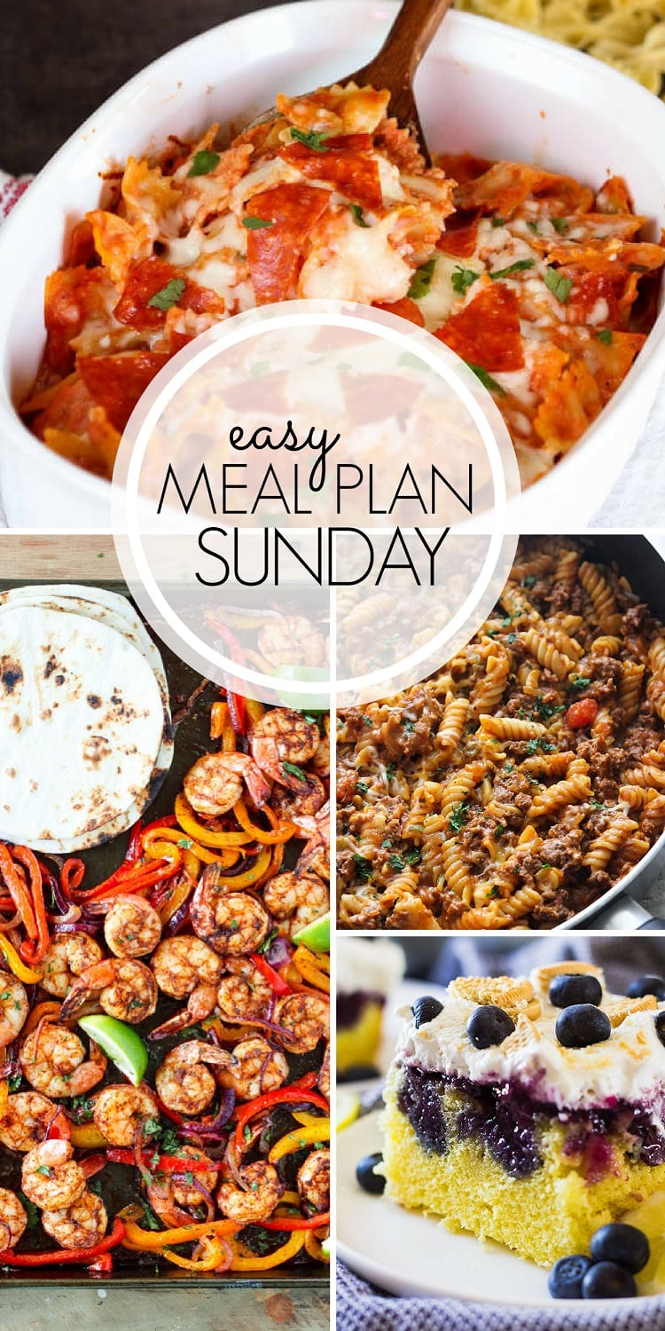 Easy Weekly Meal Plan. SIX meals, TWO desserts, ONE breakfast, and ONE healthy option to help plan your week. All in time to get your shopping done and plan the menu for the week.