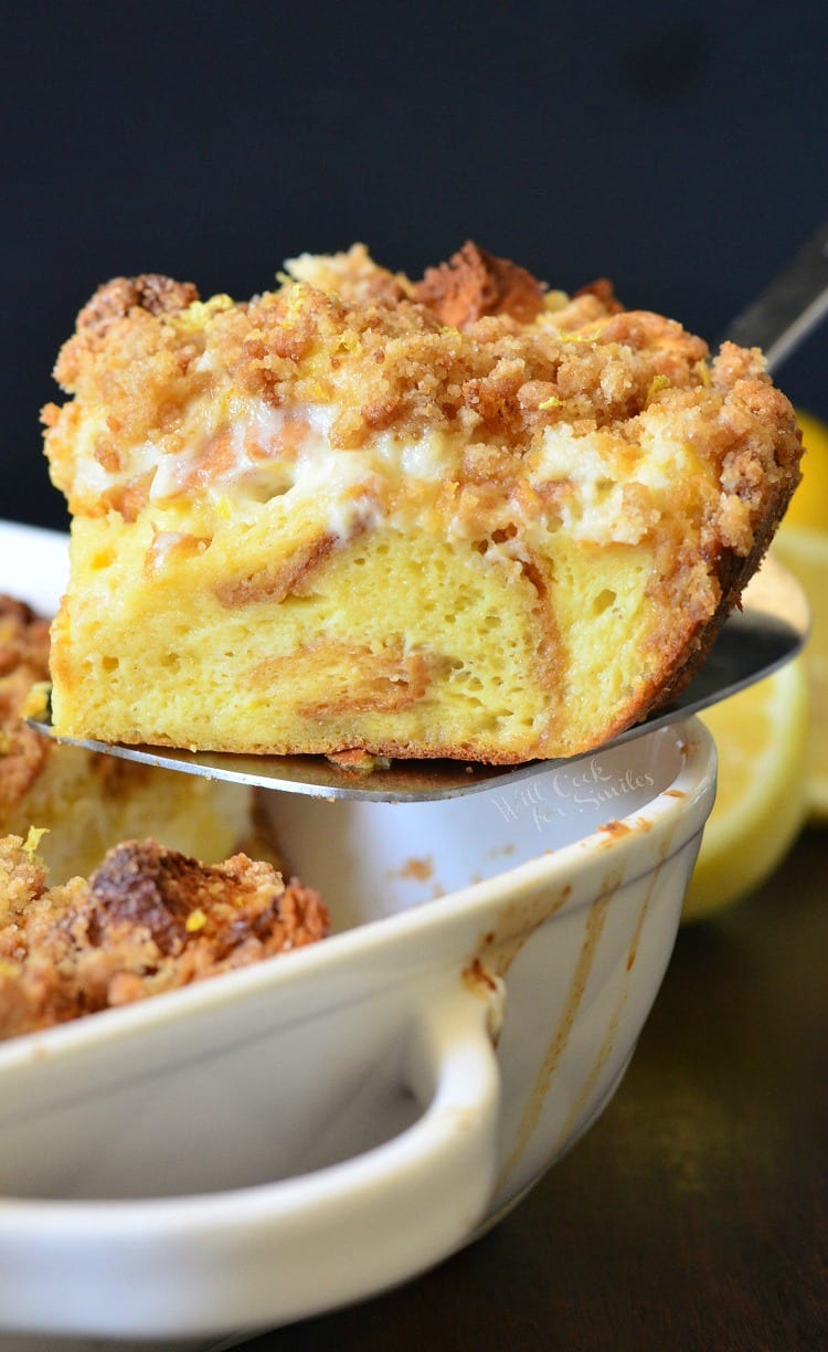 Lemon Cheesecake French Toast Casserole. from willcookforsmiles.com