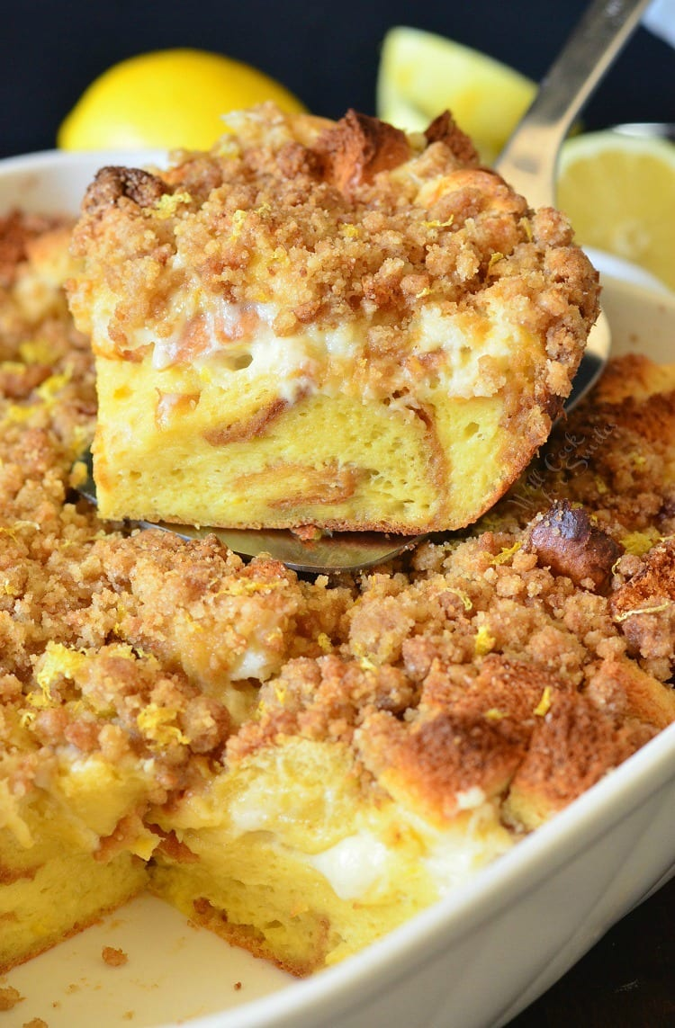Lemon Cheesecake French Toast Casserole. Beautiful French Toast Casserole made with lemon flavors throughout, a creamy cheesecake layer, and sweet lemon crumble on top.