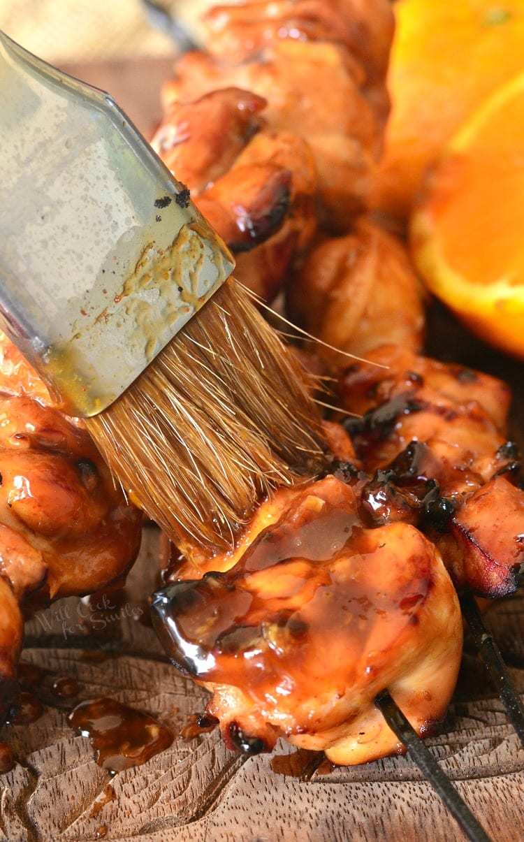 Sticky Orange Chicken Thigh Kebabs. from willcookforsmiles.com