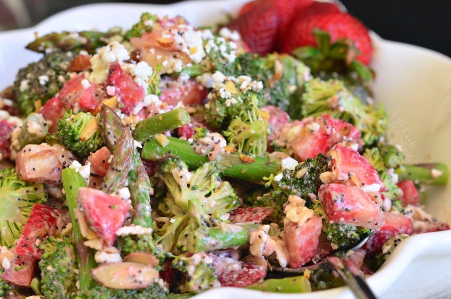 Strawberry Asparagus Broccoli Salad in a white bowl
