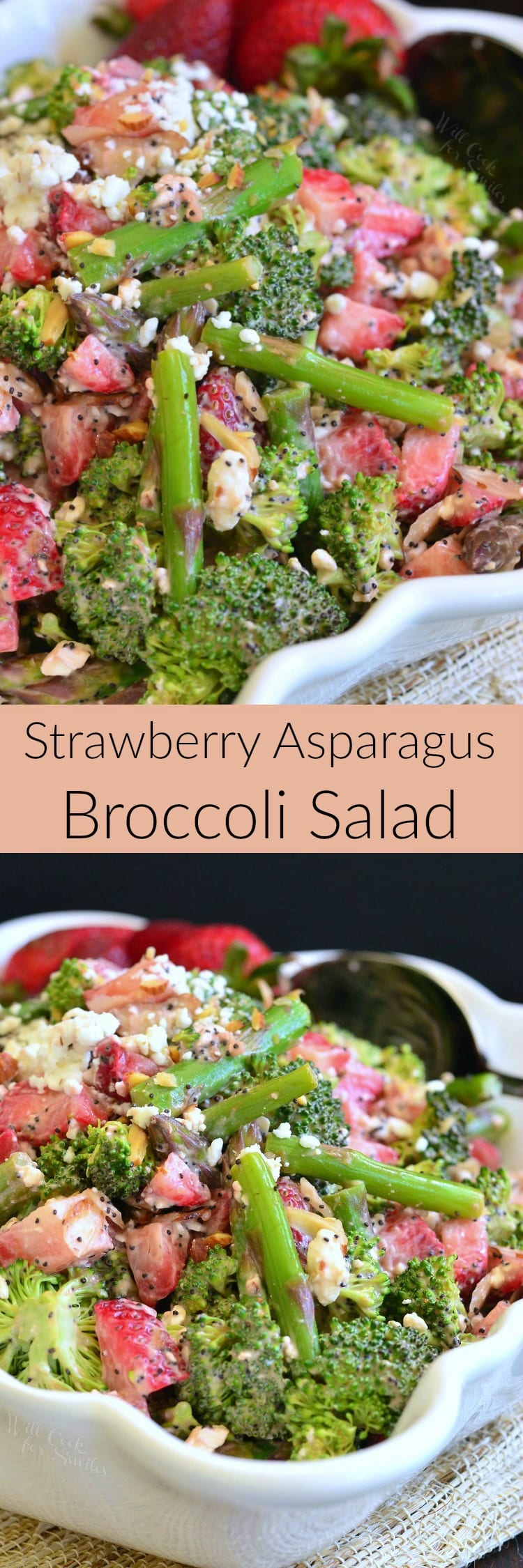 Strawberry Asparagus Broccoli Salad. This fruity broccoli salad is made with asparagus, strawberries, feta cheese, crunchy almonds and dressed with a creamy balsamic salad.
