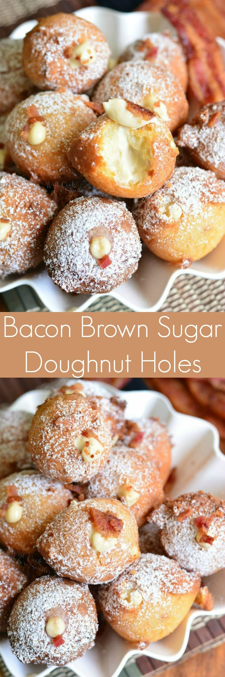 collage top photo of Bacon Brown Sugar Cream Doughnut Holes bottom photo is top view of donuts