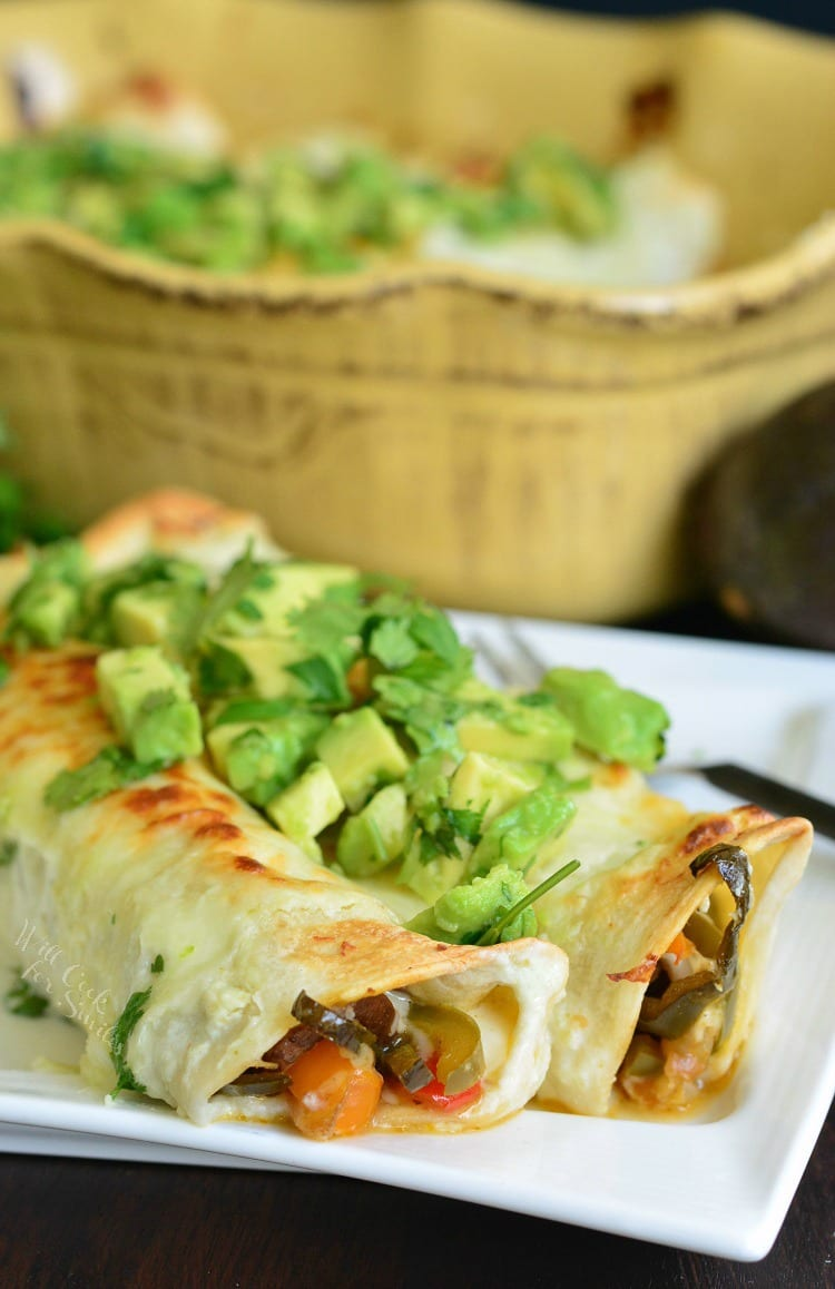 Cheesy Vegetable Enchiladas. from willcookforsmiles.com