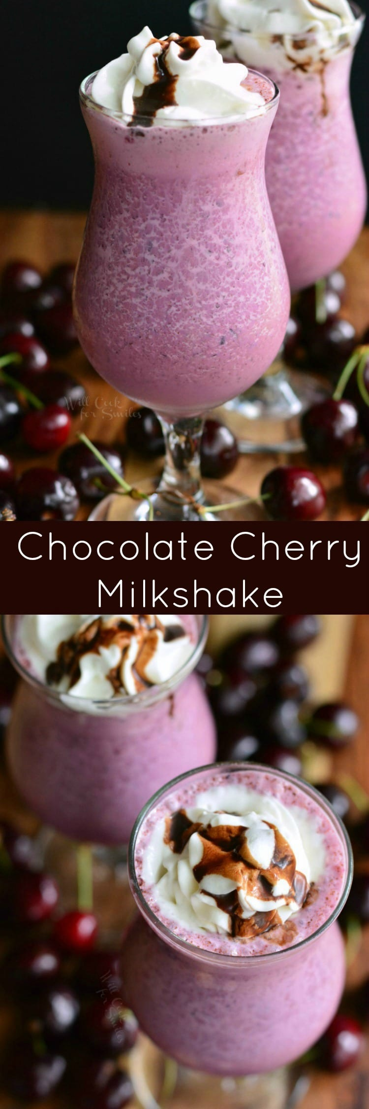 photo collage 2 Chocolate Covered Cherry Milkshakes with whip cream and chocolate on top with cherries around it bottom photo is top view of the cherry milkshake