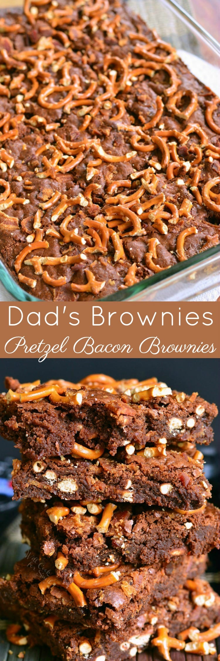 Dad's Brownies aka Pretzel Bacon Brownies. Soft, moist, sweet and salty bacon brownies that will make any dad's dreams come true.