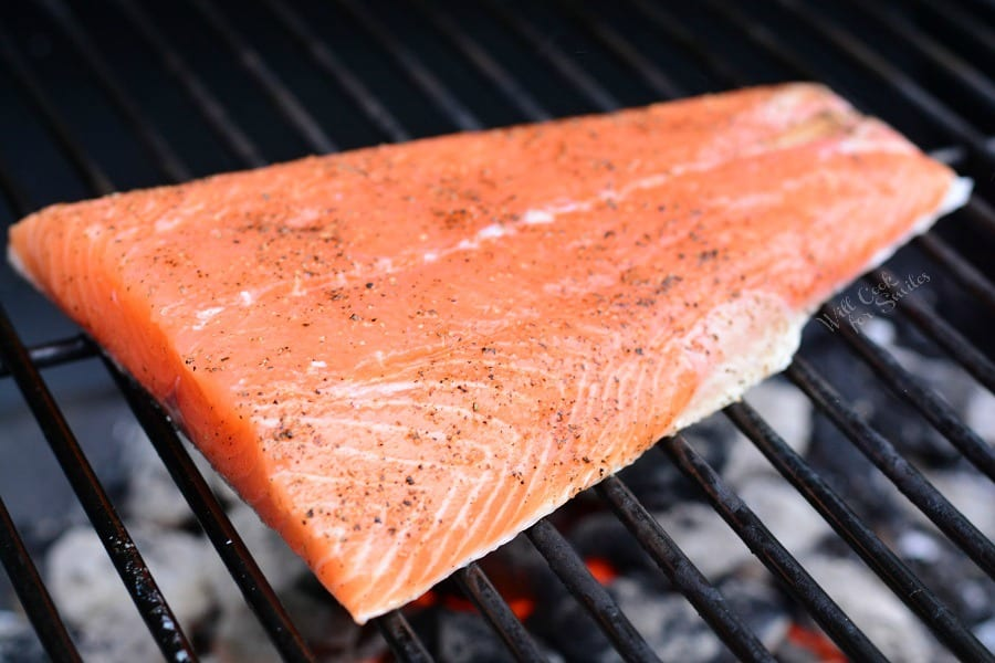 salmon on a charcoal grill