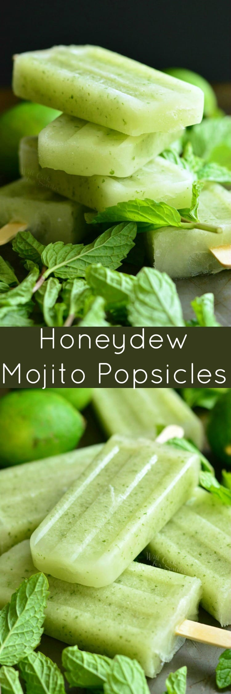 Honeydew Mojito Popsicles. These delicious and refreshing mojito popsicles are made with sweet, juicy honeydew melon, fresh lime juice, and mint. Easily turn them into boozy pops with rum!