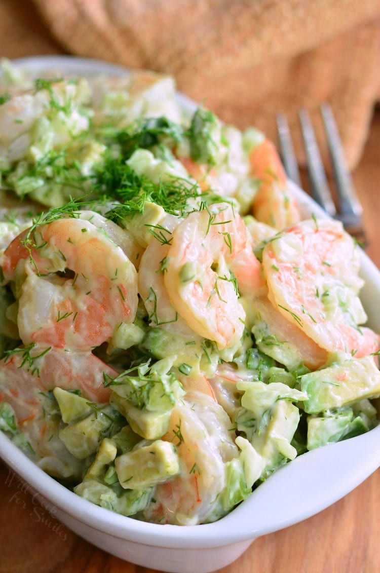 The BEST Avocado Cold Shrimp Salad. This shrimp salad is made with delicious boiled shrimp, fresh avocado, fresh dill weed, green onions, and some celery for added crunch.