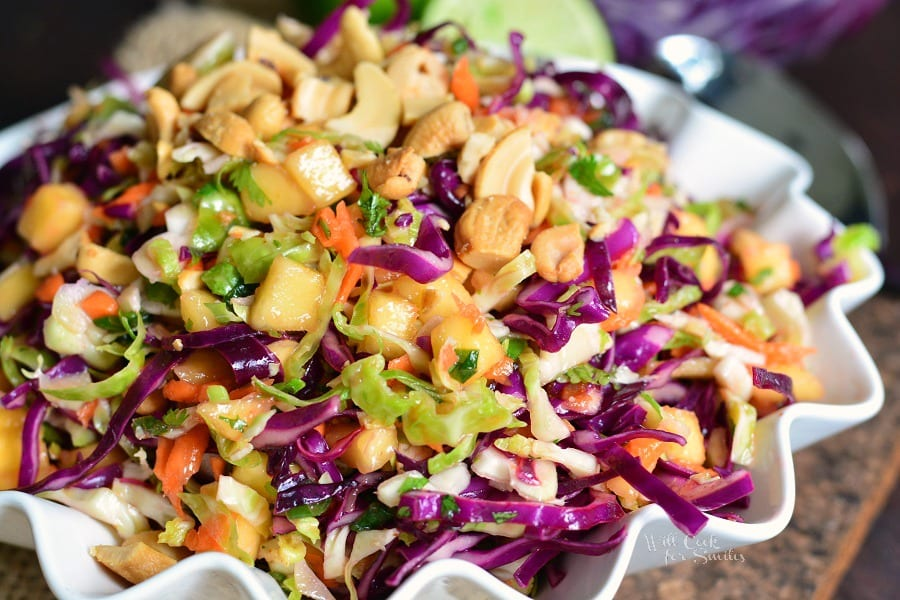 Tropical Slaw in a white serving bowl