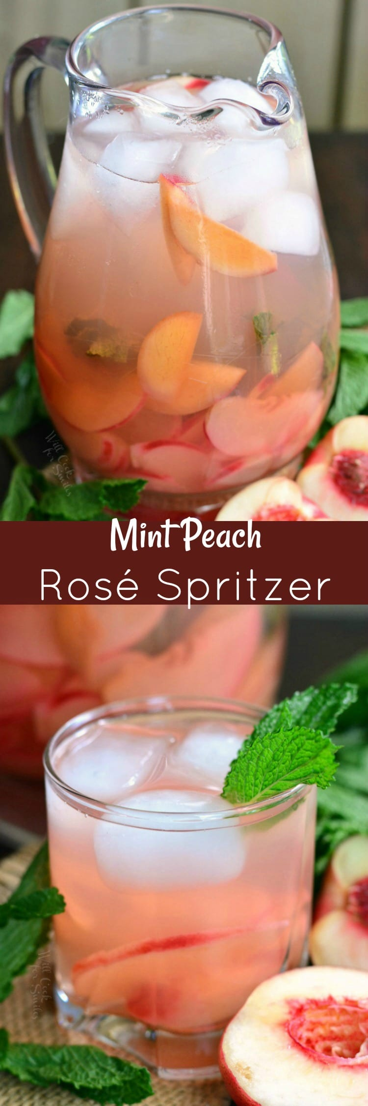 collage top photo mint Peach Rose Spritzer in a pitcher bottom glass of spritzer