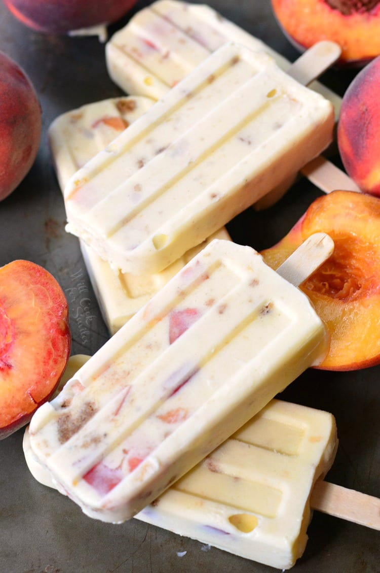 Peach Cobbler Pudding Pops. from willcookforsmiles.com