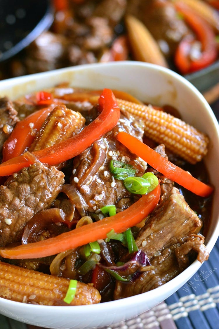 Sesame Steak Stir Fry in a white bowl