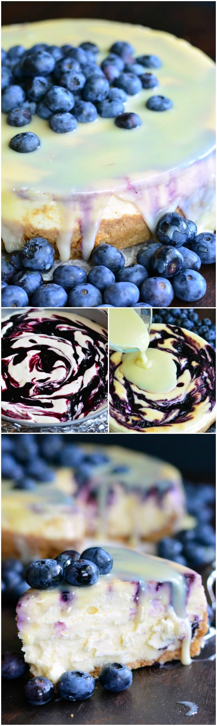 How to make Cheesecake collage 1st photo is White Chocolate Blueberry Cheesecake on a table, 2nd photo is pouring the white chocolate over cheesecake, 3rd photo is a slice of blueberry cheesecake