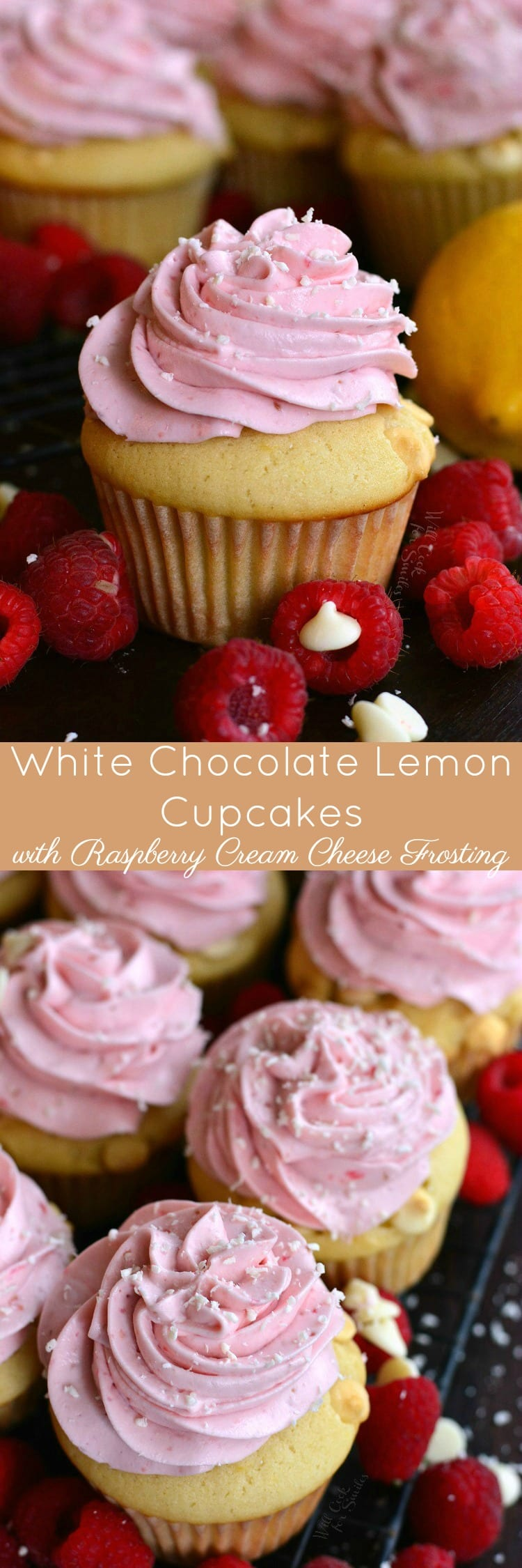 Collage of White Chocolate Lemon Cupcakes with Raspberry Frosting