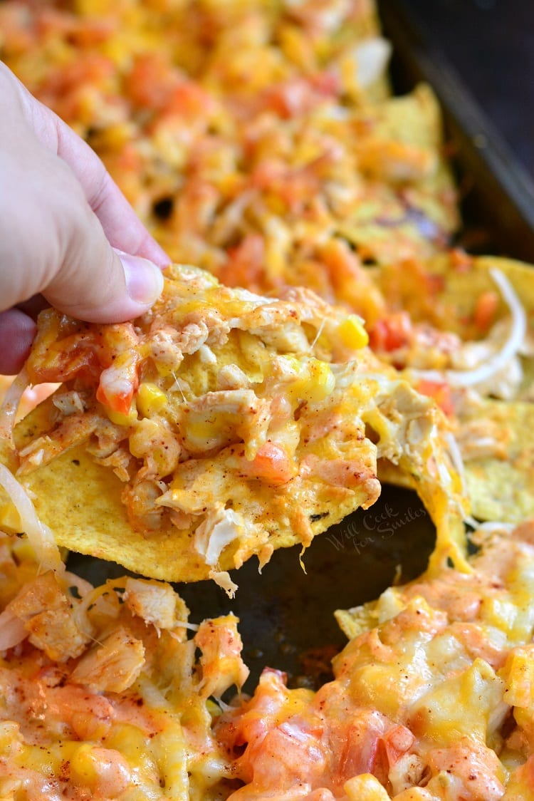 Chicken Enchilada Sheet Pan Nachos. from willcookforsmiles.com