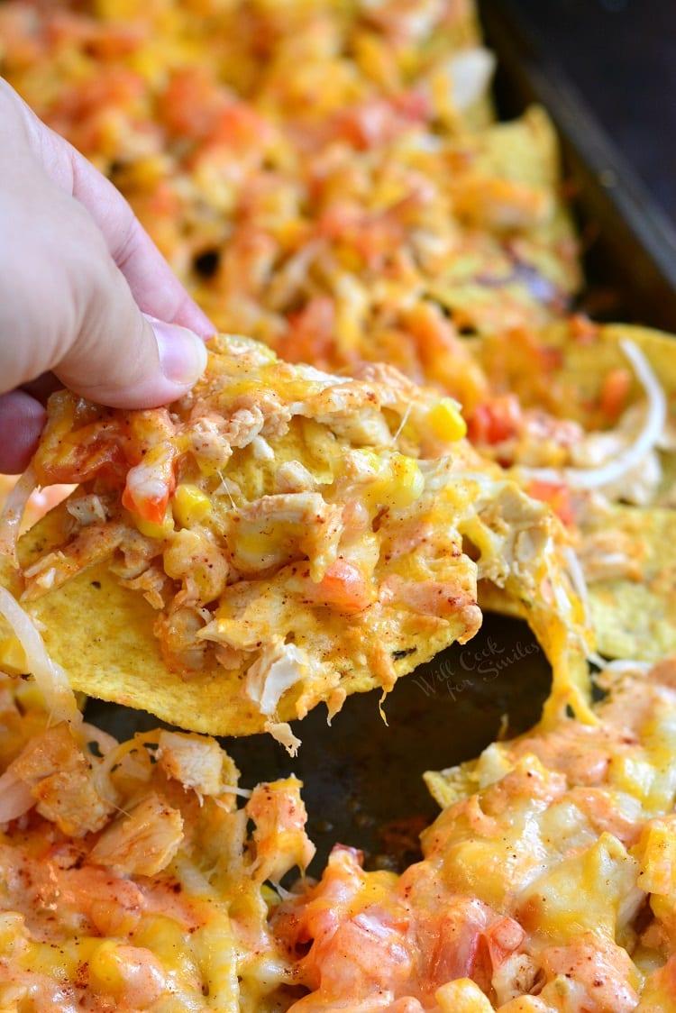 Chicken Enchilada Sheet Pan Nachos. from willcookforsmiles.com