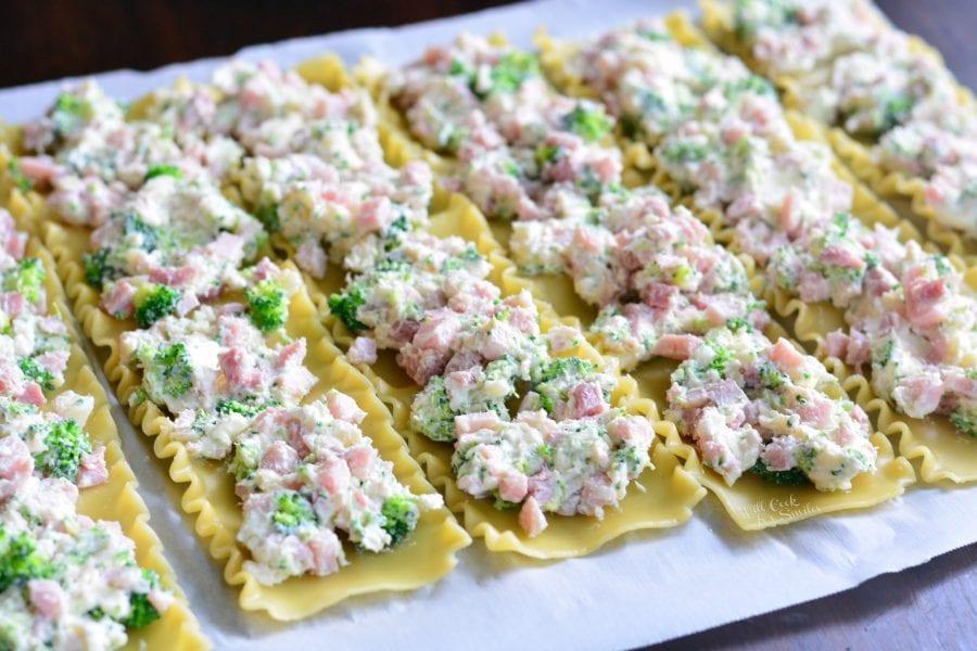 Ham and Broccoli Creamy Lasagna Roll Ups