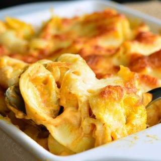 Spicy Three Cheese Pumpkin Tortellini Bake