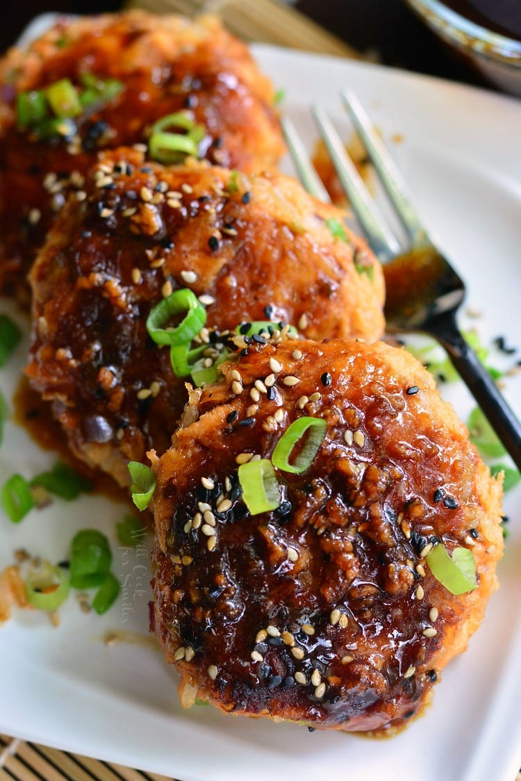 Teriyaki Rice and Salmon Patties. These outstanding salmon patties are soft, flaky, and packed with flavors. They are made with rice and teriyaki flavors inside as well as an easy teriyaki sauce for dipping.